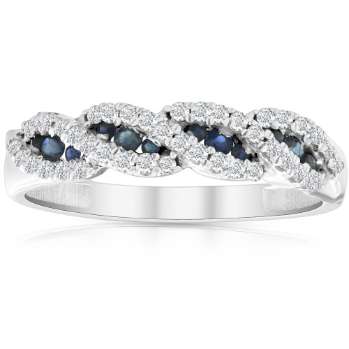1/3 Ct Blue Sapphire & Diamond Ladies Swirl Wedding Ring 10k White Gold (H/I, I1-I2)