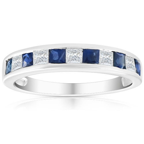 1 Ct Princess Cut Blue Sapphire & Diamond Ladies Wedding Ring 14k White Gold ((H-I), (I2))