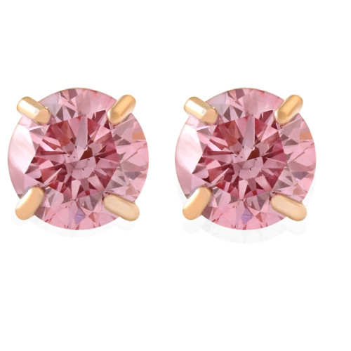1/2Ct Pink Lab Grown Diamond Screw Back Studs Earrings 14K Yellow Gold (Pink, SI(2)-I(1))