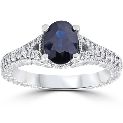 2ct Vintage Diamond Blue Sapphire Engagement Ring 14K White Gold (G/H, I1)