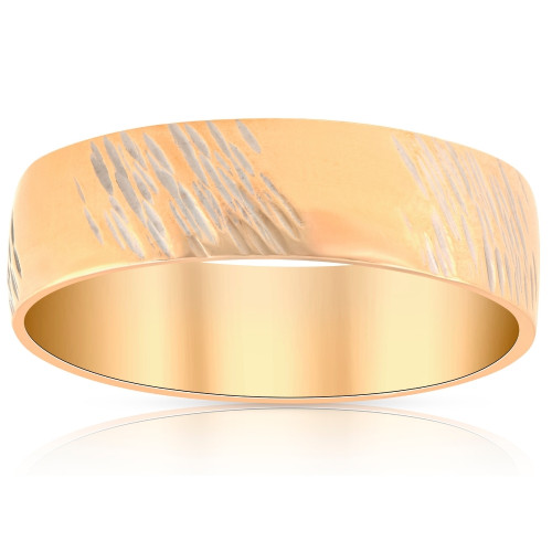 14k Yellow Gold Mens 6mm Hand Etched Wedding Anniversary Band