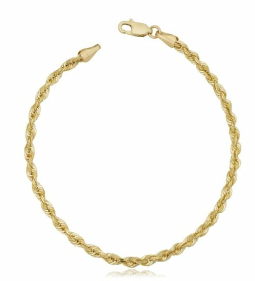 10k Yellow Gold 3.2mm Semi Solid Rope Chain Bracelet