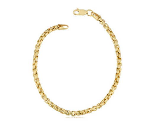 14k Yellow Gold Filled 3.5-mm Round Box Link Chain Bracelet