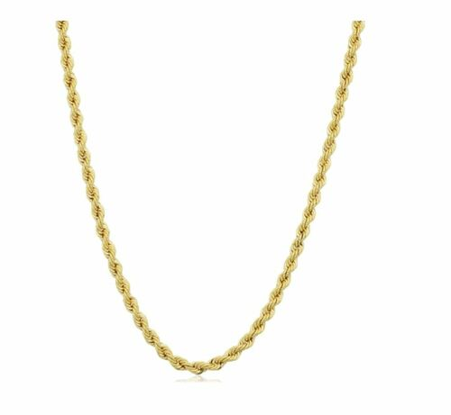 14k Yellow Gold Filled Unisex 2.10 millimeter Rope Chain Necklace