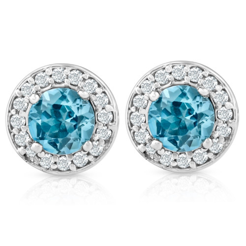 3/4ct Halo Diamond Blue Topaz Studs 14K White Gold (G-H, I2-I3)