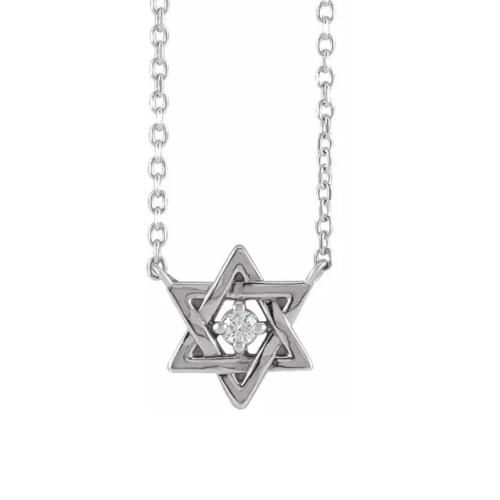 "14k White Gold Star Of David Diamond Solitaire Pendant 18"" Necklace (G/H, I2)"
