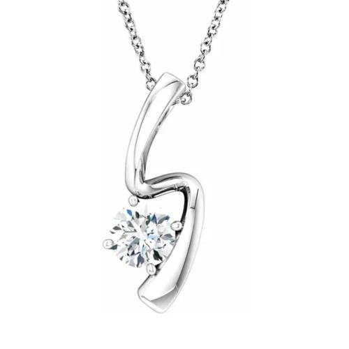 1/2ct Solitaire Round Moissanite 10k White Gold Pendant & Chain Womens Jewelry