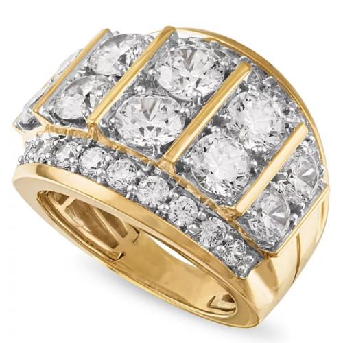 7Ct Diamond Mens Anniversary Ring in 10k Yellow Gold (H, I1-I2)