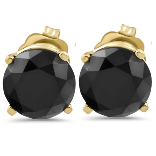 3 1/2 TCW 14k Yellow Gold Round Black Diamond Stud Earrings (Black, I2-I3)