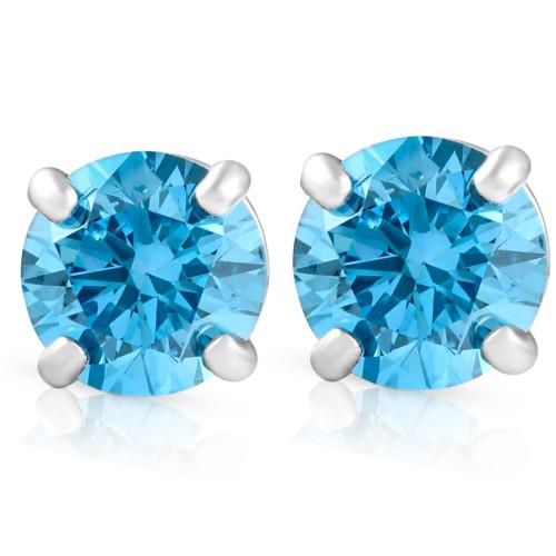 1/2ct Blue Lab Grown Diamond Studs Screw Back 14K White Gold Earrings (Blue, SI(2)-I(1))
