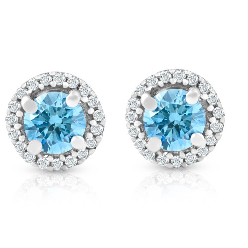 5/8 Ct Halo Blue Lab Grown Diamond Studs 10K White Gold Earrings (G/H, I1)