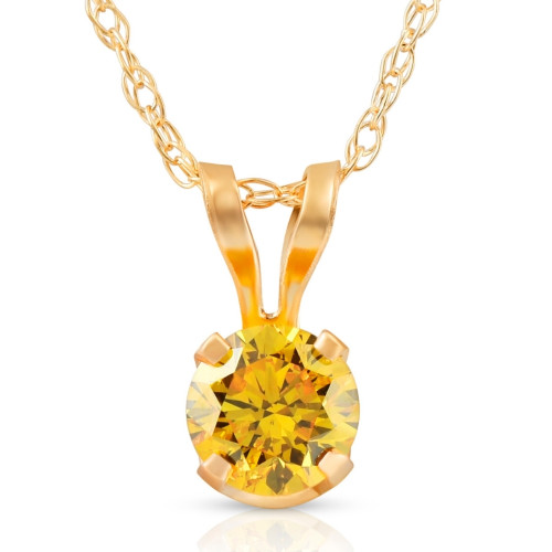 1/4Ct Fancy Canary Yellow Diamond Lab Grown Pendant 14k Yellow Gold Necklace (Yellow, VS)