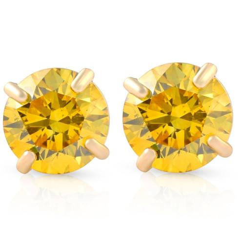 1/2ct Fancy Yellow Diamond Studs 14K Yellow Gold Screw Back Lab Grown Earrings (Yellow, SI(2)-I(1))