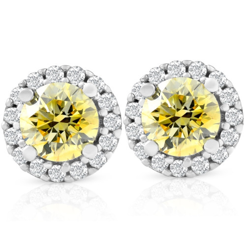 1/2 Ct Halo Fancy Canary Yellow Lab Grown Diamond Studs 10k White Gold Earrings (G/H, I1)