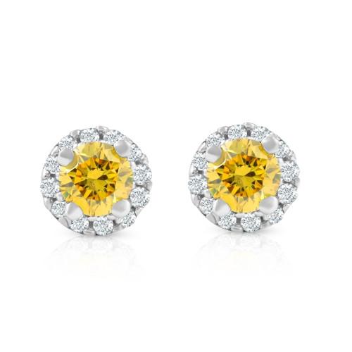 1/4 Ct Halo Fancy Yellow Lab Grown Diamond Studs 10K White Gold (G/H, I1)