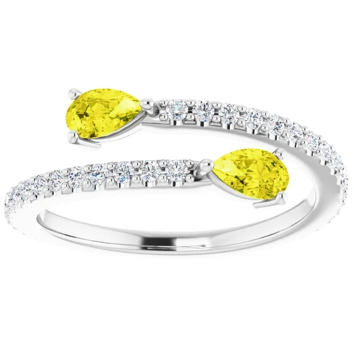 5/8 Ct Fancy Yellow Pear Shape Diamond 2-Stone By Pass Ring Lab Grown White Gold (Yellow, VS/SI)