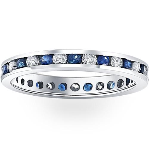1CT Blue Sapphire & Diamond Channel Set Eternity Wedding Ring 14K White Gold (H/I, I1-I2)