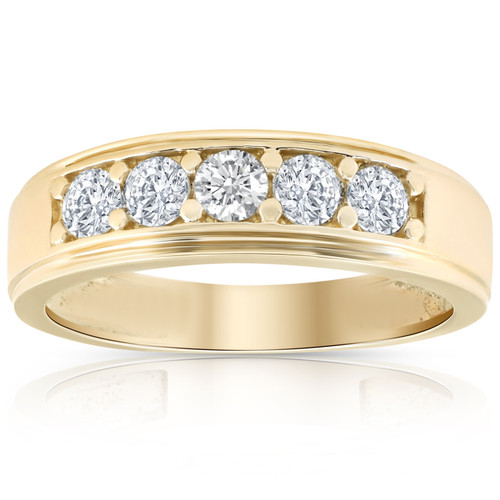 1 Ct Diamond Ring Mens High Polished Solid Yellow Gold Wedding Band Lab Grown (((G-H)), SI(2)-I(1))