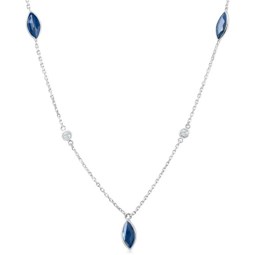 """3/4 Ct tdw Blue Marquise Sapphire & Diamond By The Inch 18"""" Necklace (GH, SI)"""