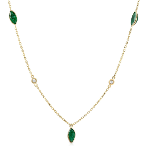 """3/4 Ct tdw Marquise Emerald & Diamond By The Yard 18"""" Necklace (GH, )"""