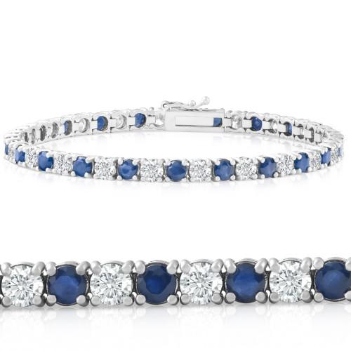 8 Ct Blue Sapphire & Diamond Tennis Bracelet 14k White Gold (G/H, I2)