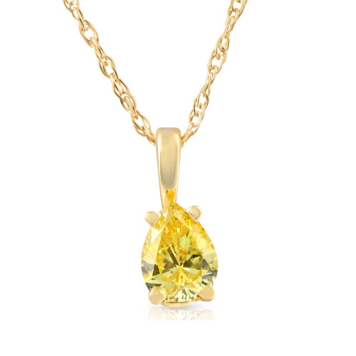 1/4Ct Canary Yellow Pear Diamond Lab Grown Pendant 14k Yellow Gold Necklace (Yellow, SI(1)-SI(2))