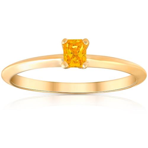 1/4Ct Cushion Cut Fancy Yellow Diamond 14k Yellow Gold Engagement Ring Lab Grown (Yellow, SI(1)-SI(2))