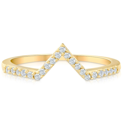 Diamond Curved V Shape Wedding Ring Women's Stackable Wedding Band Yellow Gold (G/H, I1-I2)