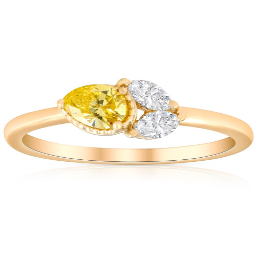 3/8Ct Fancy Yellow Pear & Marquise Shape Diamond Ring Yellow Gold Lab Grown (G/H, I1-I2)
