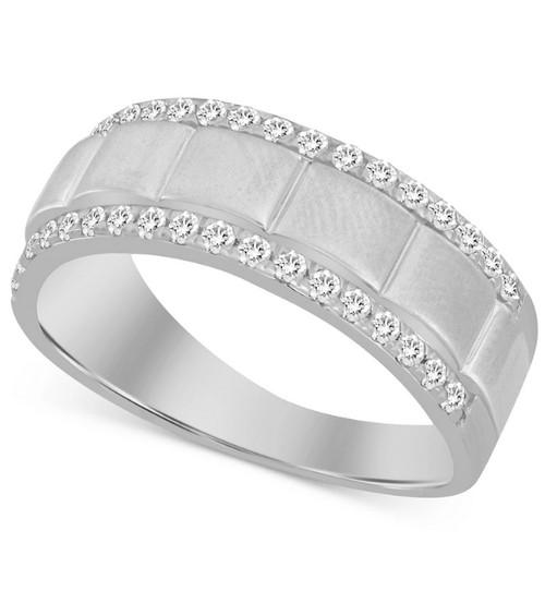 1/2Ct Men's Diamond Ring in 10k White or Yellow Gold (G/H, I1-I2)