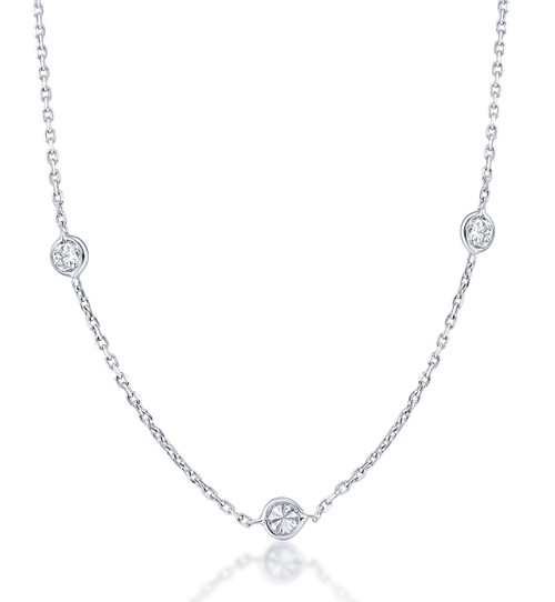 1 1/5Ct Diamonds By The Yard Necklace Lab Grown in 14k White or Yellow Gold (((G-H)), SI(1)-SI(2))