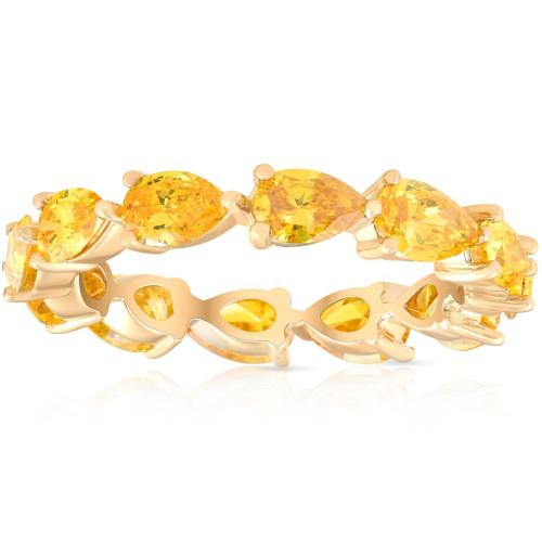 3 Ct Fancy Yellow Pear Shape Diamond Eternity Ring 14k Yellow Gold Lab Grown (Fancy Yellow, SI(1)-SI(2))