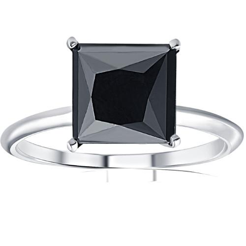 3Ct Black Moissanite Princess Cut Solitaire Engagement Ring 14k White Gold