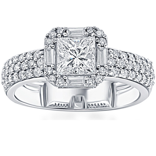 1 5/8CT Princess Cut Baguette Halo Diamond Engagement Ring 14k White Gold (G/H, SI1-SI2)
