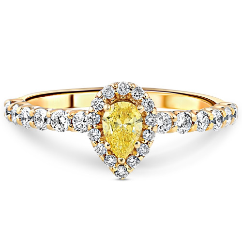 3/4CT Fancy Yellow Pear Lab Grown Diamond Halo Engagement Ring Yellow Gold (Fancy Yellow, SI2-I1)