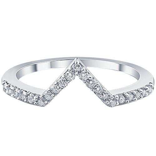 1/5Ct V Shape Curved Lab Grown Diamond Wedding Ring 10k White Gold (G/H, VS2-SI1)