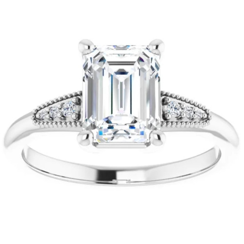 1 3/4Ct Diamond & Emerald Cut Moissanite Vintage Engagement Ring White Gold (G/H, I1-I2)