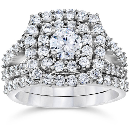 2 Ct TW Diamond Engagement Cushion Halo Engagement Ring Set White Gold Lab Grown ((H-I), SI(1)-SI(2))