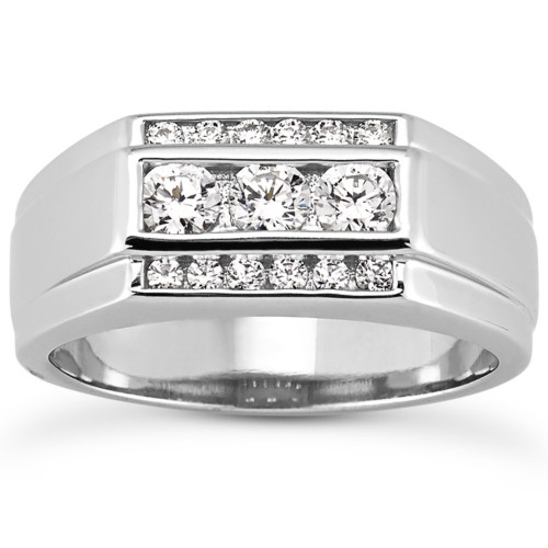 Men's 1 Ct T.W. Diamond Ring 10k White Gold (H/I, I1-I2)