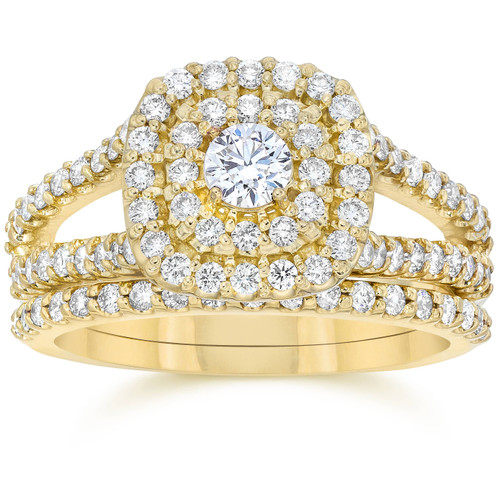 1 1/10CT Cushion Halo Diamond Engagement Wedding Ring Set 10K Yellow Gold (H/I, I1-I2)