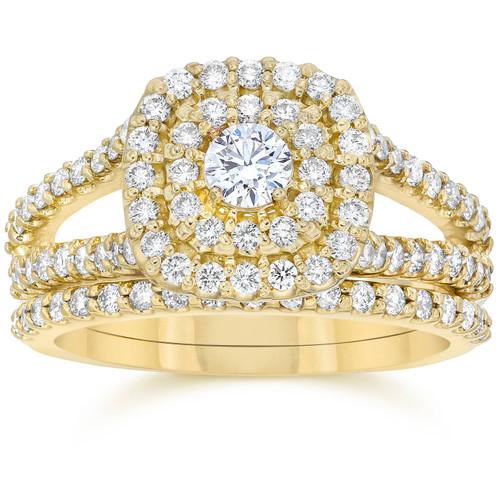 1 1/10CT Cushion Halo Diamond Engagement Wedding Ring Set 10K Yellow Gold (H/I, I1-I2)