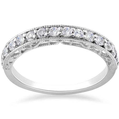 3/8ct Diamond Vintage Stackable Wedding Ring 14K White Gold (G/H, I1)