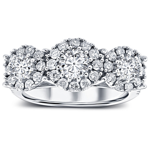 1 1/2 Ct Diamond Three Stone Halo Pave Engagement Ring White Gold Lab Grown ((H-I), SI(1)-SI(2))
