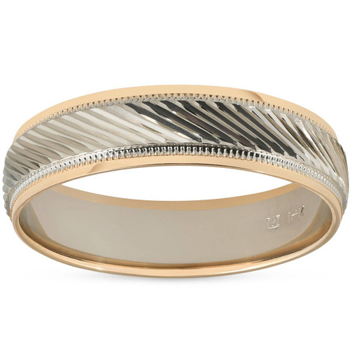 Mens 14k Gold Two Tone Wedding Carved New Ring Band