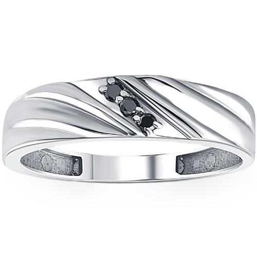 Black Diamond Ring Men's 14k White Gold (Black, I2-I3)