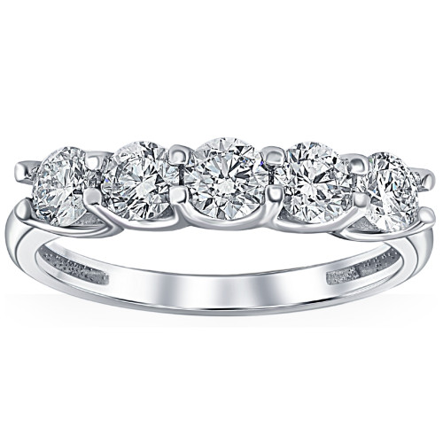 1 Ct T.W. Five Stone Diamond Wedding Ring in White or Yellow Gold Lab Grown ((I-J), SI(1)-SI(2))