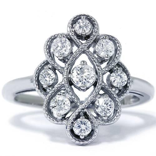 5/8ct Vintage Style Diamond Ring 14K White Gold (G/H, I1-I2)