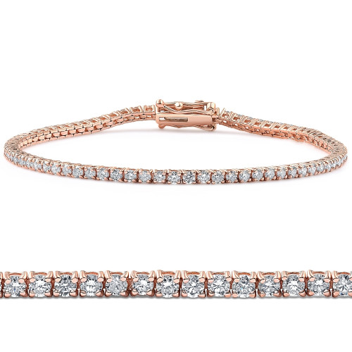 "2 Ct Lab Grown Diamond Tennis Bracelet 7"" 14k Rose Gold (G-I, SI(2)-I(1))"