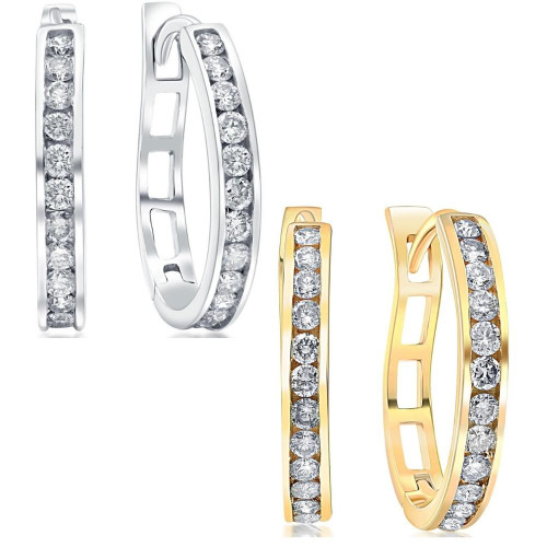 1/2Ct Diamond Hoops in 10k White or Yellow Gold (G, I1)