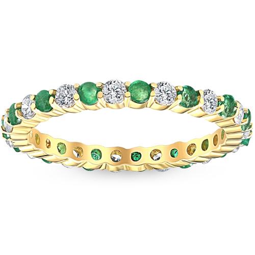1 cttw Emerald & Diamond Wedding Eternity Stackable Ring 10k Yellow Gold (G/H, I1-I2)